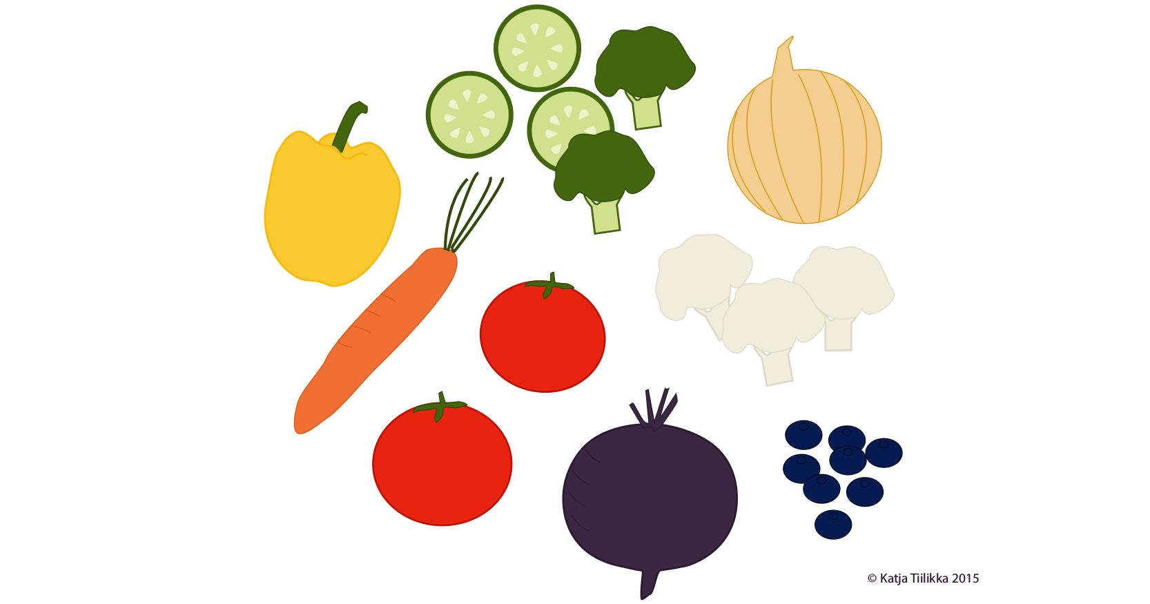 Syö viittä eri väriä joka päivä